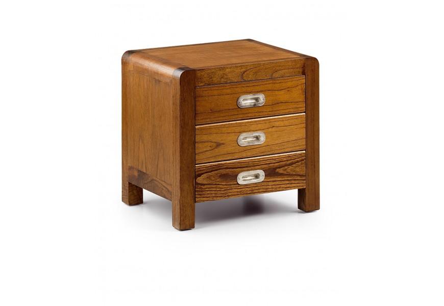 Luxusný nočný stolík Flash s tromi zásuvkami z masívu dreva mindi