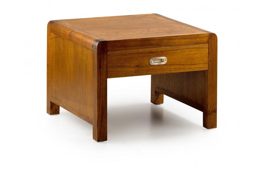 Luxusný štvorcový konferenčný stolík Flash so zásuvkami z exotického dreva mindi