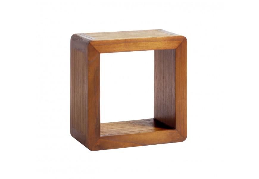 Masívna polička štvorcová Flash z exotického dreva mindi