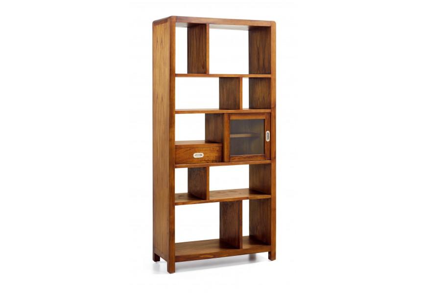 Luxusná knižnica Flash z masívu exotického dreva mindi