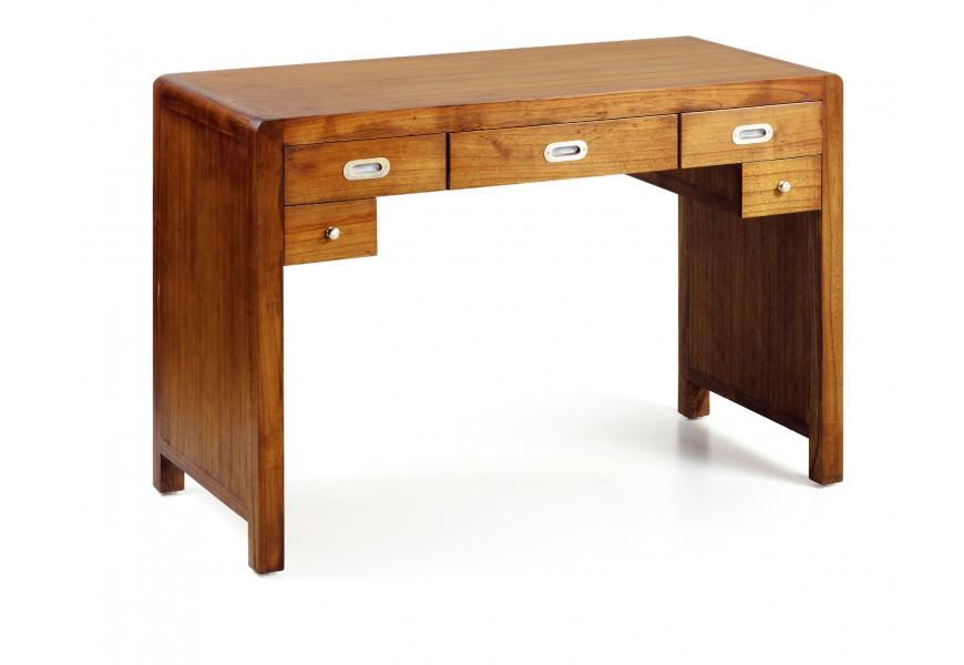 Luxusný masívny pracovný stôl Flash s piatimi zásuvkami z exotického dreva mindi