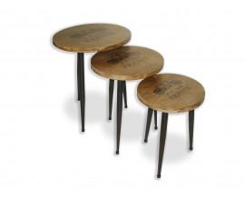 Štýlový set troch stolíkov s drevenými vrchnými doskami