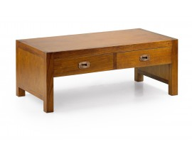 Elegantný masívny konferenčný stolík Star z dreva mindi s dvomi zásuvkami 100cm