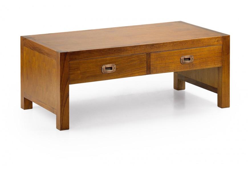 Klasický konferenčný stolík Star z masívneho dreva mindi hnedej farby s dvomi zásuvkami