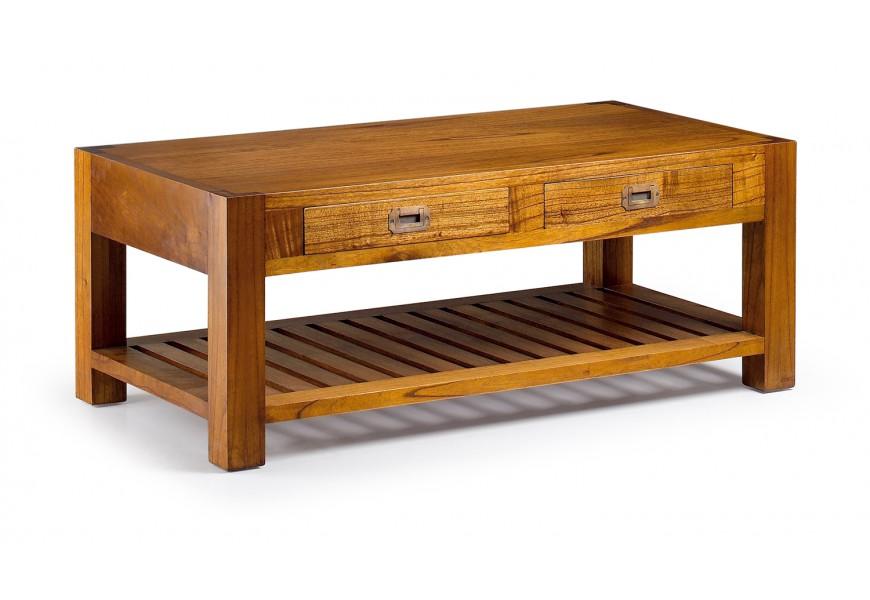 Drevený štýlový konferenčný stolík Star z masívu s dvomi zásuvkami 120cm