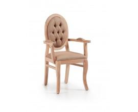 Luxusná elegantná stolička s lakťovými opierkami čalunená Bromo z masívu
