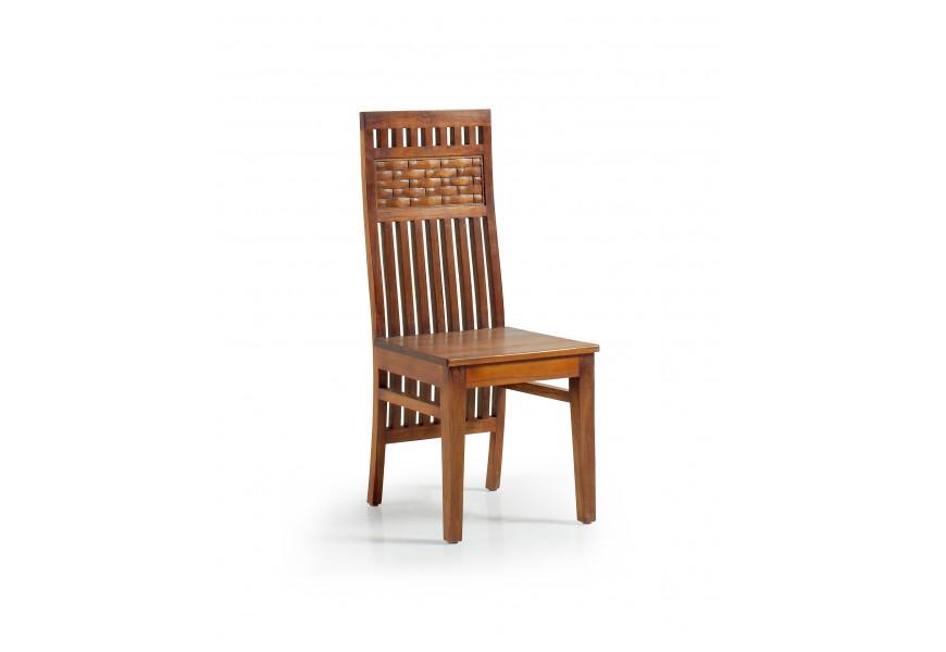 Luxusná drevená jedálenská stolička Star z masívu mindi hnedej farby