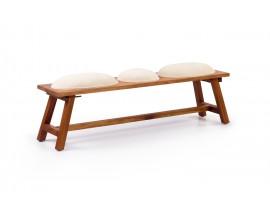 Štýlová lavica Star z dreva mindi s béžovým čalúnením 150cm