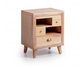 Luxusný nočný stolík s výsuvnou doskou z masívu v retro štýle Bromo