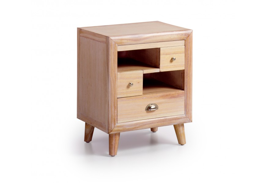 Luxusný nočný stolík s výsuvnou doskou svetlej farby, vyrobený z exotického dreva Mindi, ktoré je veľmi cenené pre svoje vlastno