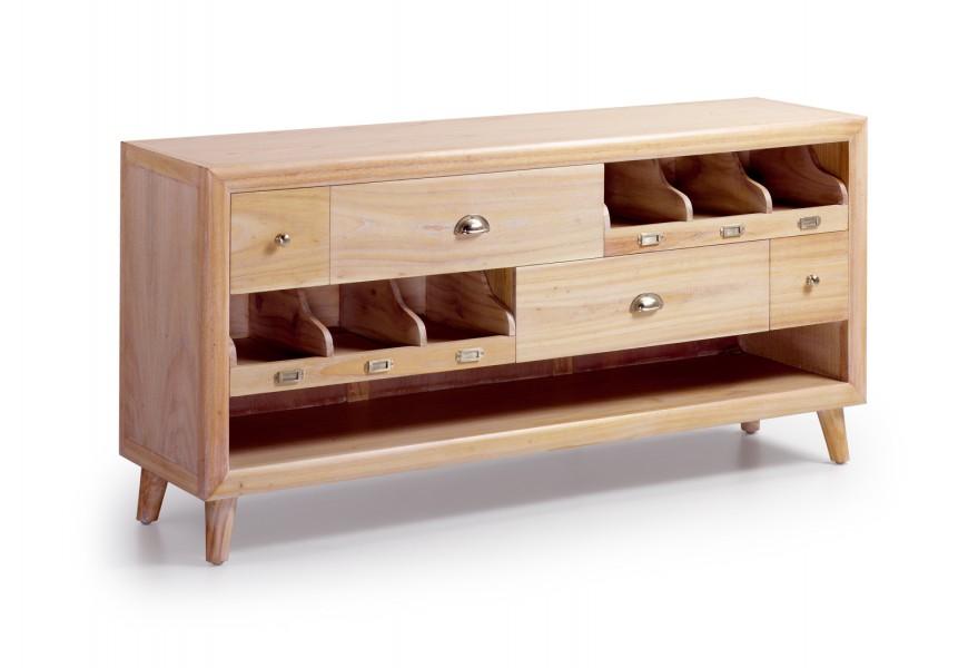 Masívny TV stolík so zásuvkami a odkladacím priestorom Bromo je vyrobený z exotického dreva Mindi