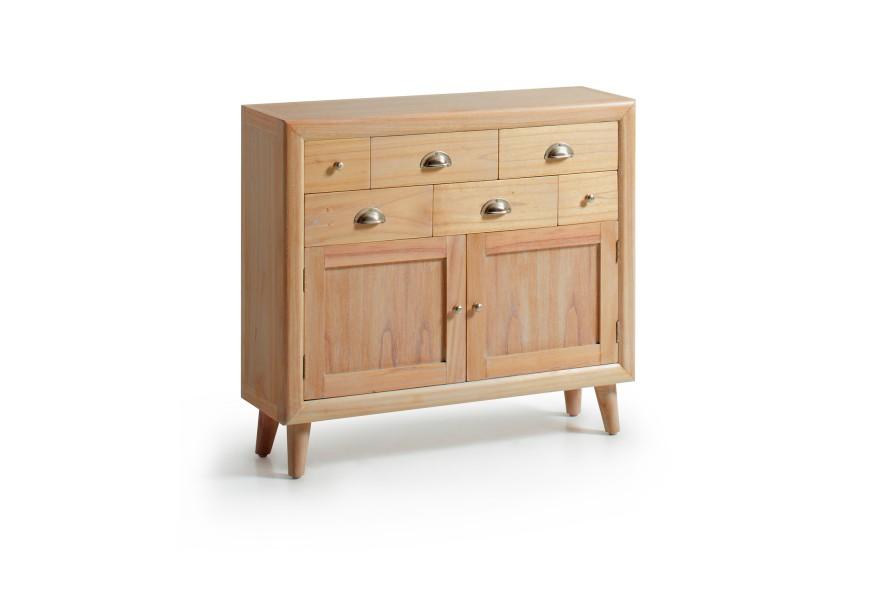 Štýlová masívna konzola so zásuvkami je vyrobená z exotického dreva Mindi