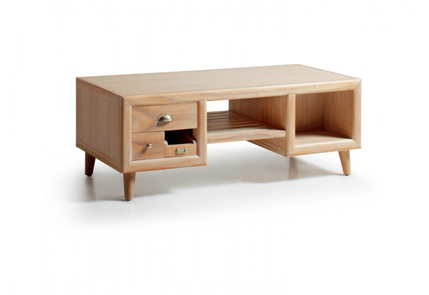 Štýlový konferenčný stolík s odkladacím priestorom je vyrobený z exotického dreva Mindi