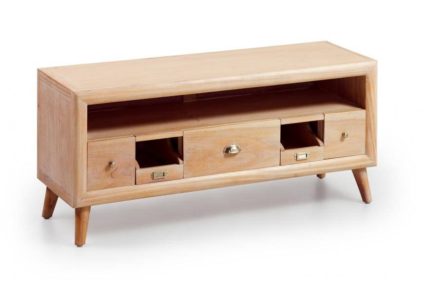 Štýlový luxusný TV stolík s odkladacím priestorom a zásuvkami je vyrobený z exotického dreva Mindi, ktoré je veľmi cenené pre sv