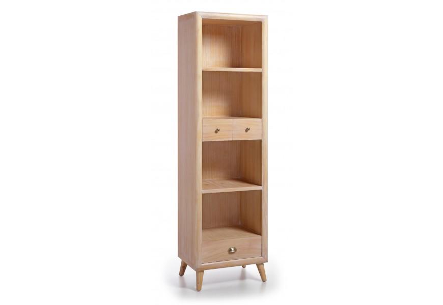Luxusná knižnica so zásuvkami je vyrobená z exotického dreva Mindi svetlej farby, ktoré je veľmi cenené pre svoje vlastnosti