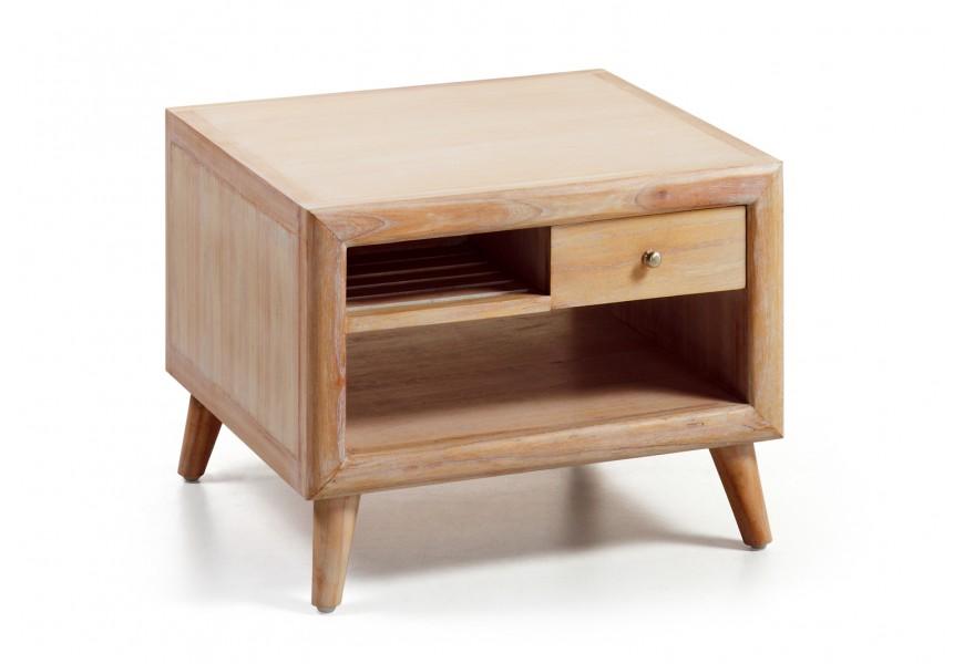 Štýlový luxusný konferenčný stolík štvorcový s odkladacím priestorom je vyrobený z exotického dreva Mindi, ktoré je veľmi cenené