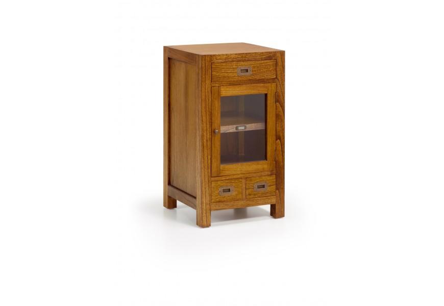 Elegantný príručný stolík Star z masívneho dreva mindi hnedej farby