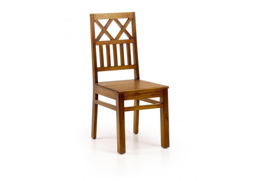 Elegantná drevená stolička Star z masívu mindi v hnedej farbe
