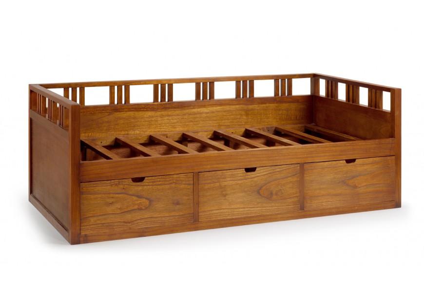 Elegantný rám postele Star z masívneho dreva mindi s úložným priestorom