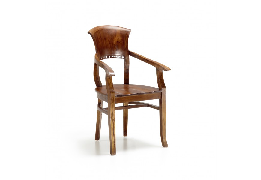 Masívna luxusná stolička Star z dreva mindi hnedej farby s opierkami na ruky