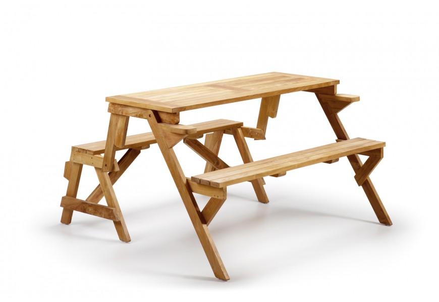 Štýlová lavica a stôl Teak v jednom Jardin