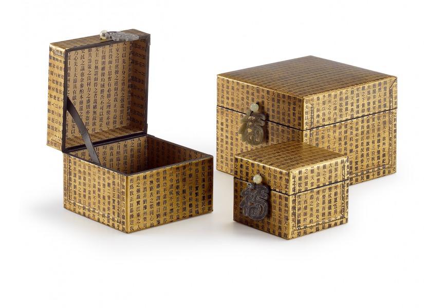 Sada troch kožených boxov 19x19cm