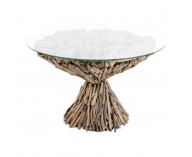Dizajnový krúhly konferenčný stolík 70cm z náplavového dreva