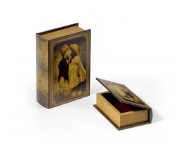 Dizajnový set kožených dekoračných kníh 2ks 22cm