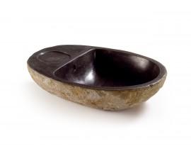 Luxusné okrúhle mramorové umývadlo s priestorom na mydlo