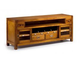 Dizajnový TV stolík Star z masívneho dreva s poličkami, dvierkamia zásuvkami 150cm