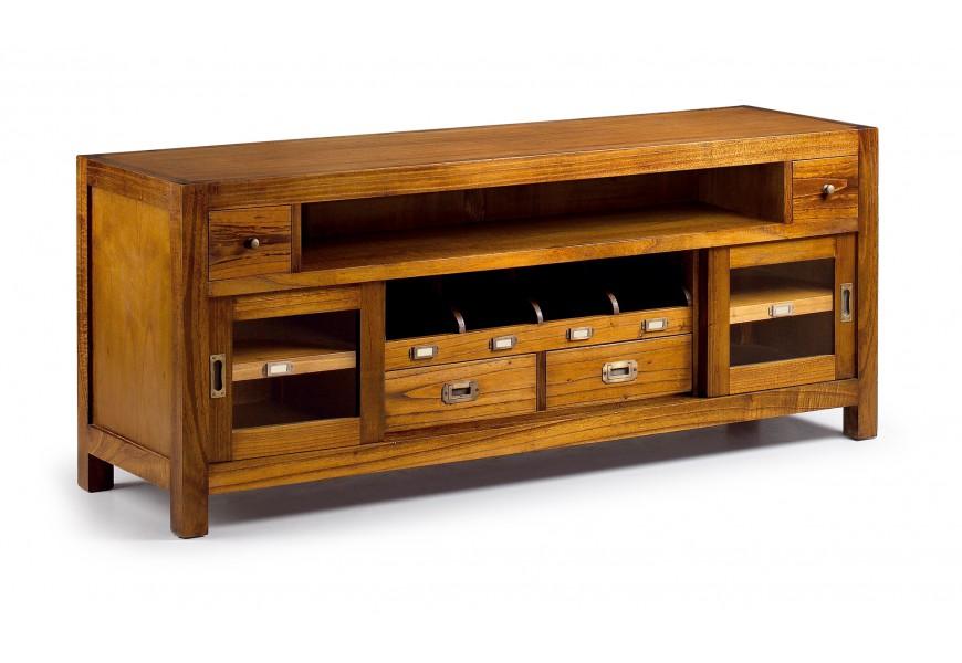 Exkluzívny masívny tv stolík Star s poličkami, zásuvkami a dvierkami hnedej farby