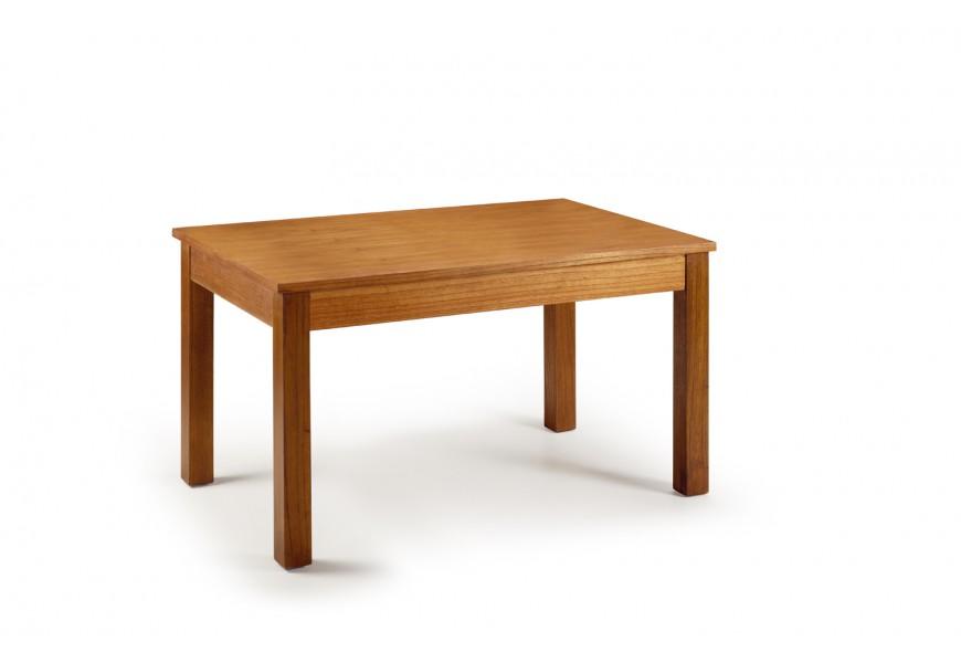 Elegantný rozkladací jedálenský stôl Star hnedej farby z masívneho dreva mindi