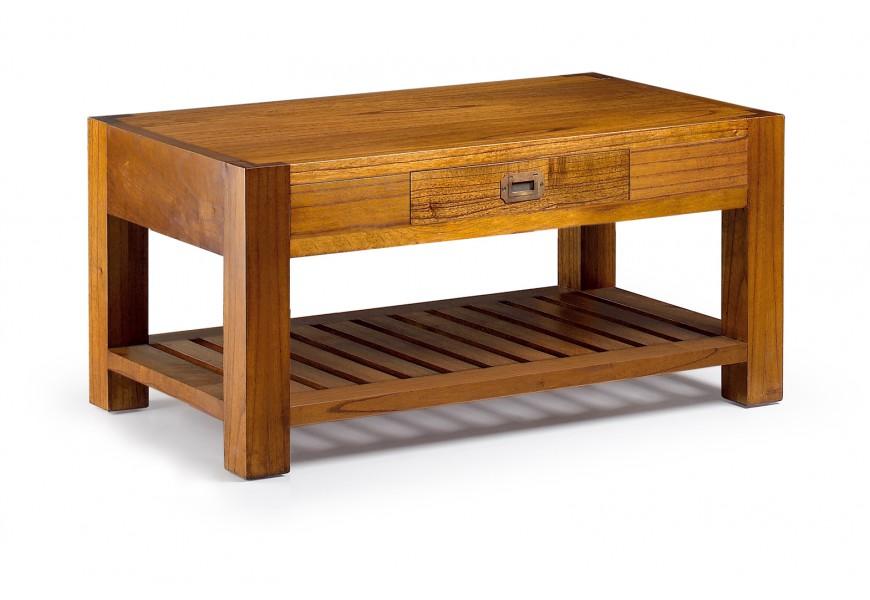 Elegantný konferenčný stolík Star z masívneho dreva mindi v hnedej farbe so zásuvkou a odkladacou poličkou