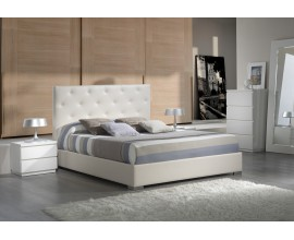 Dizajnová posteľ ANA s čalúnením z eko-kože s prešívaným čelom s úložným priestorom 200cm