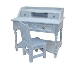Malý kancelársky stôl AZUARA so štyrmi zásuvkami a jednou policou, biely