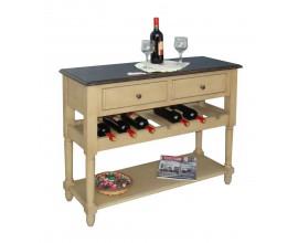 Konzola SELMA s dvoma zásuvkami a policami na víno