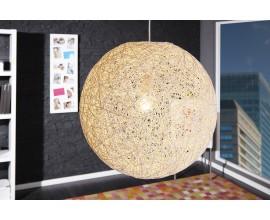 Dizajnová štýlová závesná lampa Cocoon biela 45cm