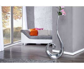 Luxusná štýlová váza Vlna 106 cm strieborná