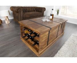Dizajnový konferenčný stolík z masívu s barom na víno 100cm
