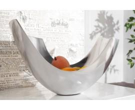 Luxusná moderná dekoračná misa Abstrakt 35 cm strieborná