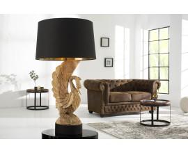 Dizajnová originálna stolná lampa SWAN z agátového dreva
