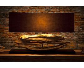 Dizajnová jedinečná stolná lampa z naplaveného dreva