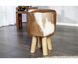 Luxusná dizajnová taburetka Hide z hnedo-bielej kozej kože