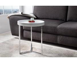 Štýlový príručný stolík Modul 40cm biela/strieborná