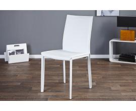 Elegantná moderná stolička Milano v bielej koži