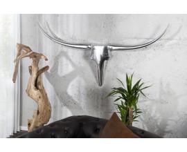Extravagantná dekoračná lebka Bull 125cm strieborná