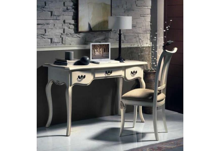 Luxusný zámocký písací stolík Nuevas formas s tromi zásuvkami a vyrezávanými ornamentami