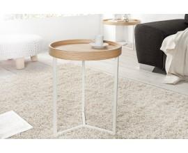 Štýlový príručný stolík Modul 40 cm dub, biela