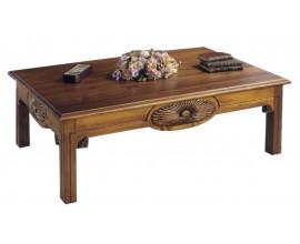 Rustikálny drevený konferenčný stolík Nuevas formas s vyrezávaním 75cm