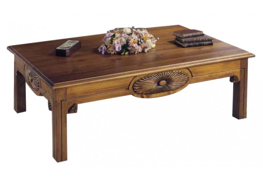 Elegantný rustikálny konferenčný stolík Nuevas formas s vyrezávaním